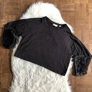 Altar'd State Large Black Long Sleeve Top Faux Fur